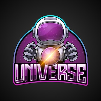 The mascot of the astronaut and universe logo