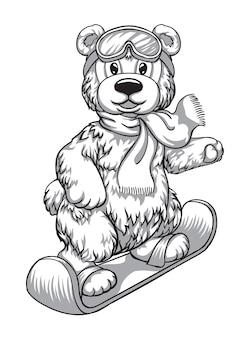 Талисман медведь на лыжах черно-белый рисунок вышивка принт на ткани