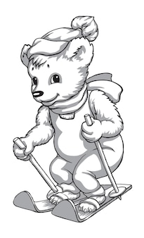 Mascot bear on skis black and white drawing embroidery print for fabric