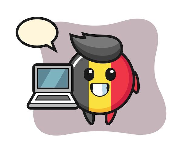노트북으로 마스코트 벨기에 국기 배지
