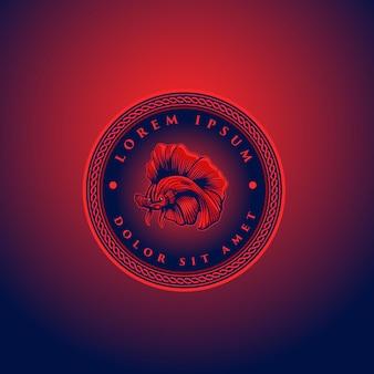 마스코트 베타 물고기 붉은 달