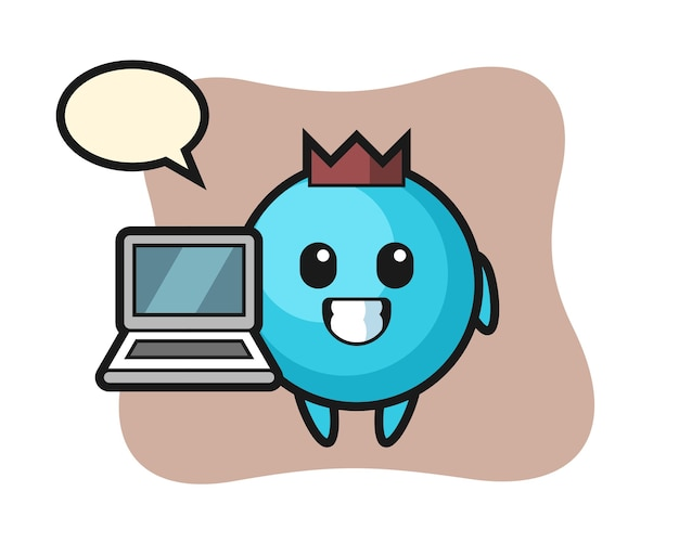 노트북으로 마스코트 블루 베리