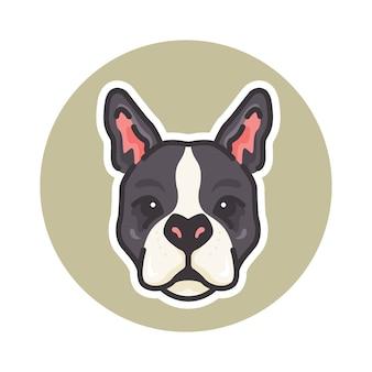 マスコットボストンテリア犬のイラスト、ロゴやマスコットに最適