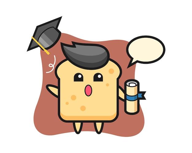 Mascot of bread cartoon throwing the hat at graduation