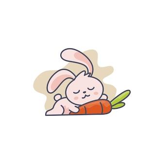 Mascot bunny sleeping along with carrot illustration