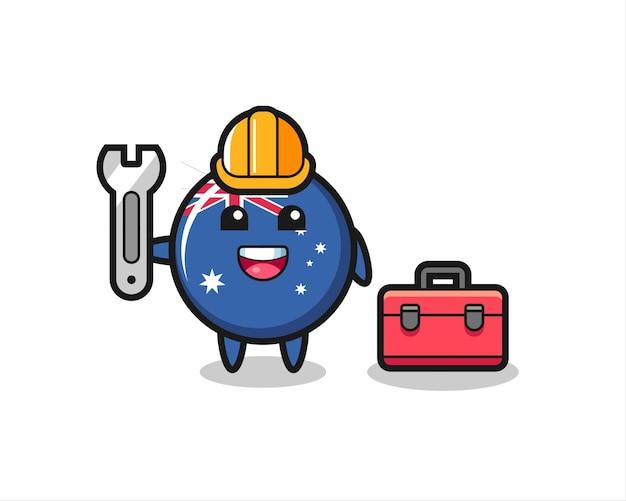 Mascot cartoon of australia flag badge as a mechanic , cute style design for t shirt, sticker, logo element