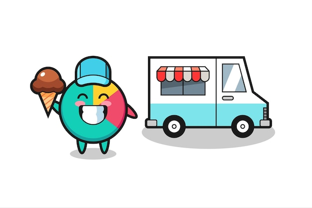 Mascot cartoon of chart with ice cream truck , cute style design for t shirt, sticker, logo element