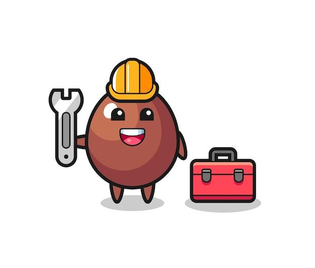 Mascot cartoon of chocolate egg as a mechanic , cute design