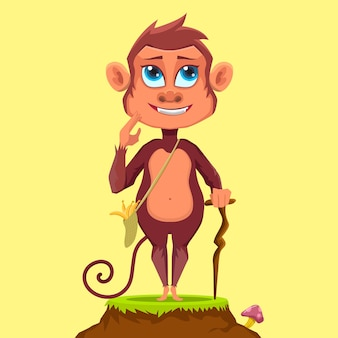 木の棒を使用しながら草の上に立っているマスコット漫画かわいい猿
