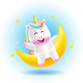 Mascot cartoon  cute unicorn sit on the moon