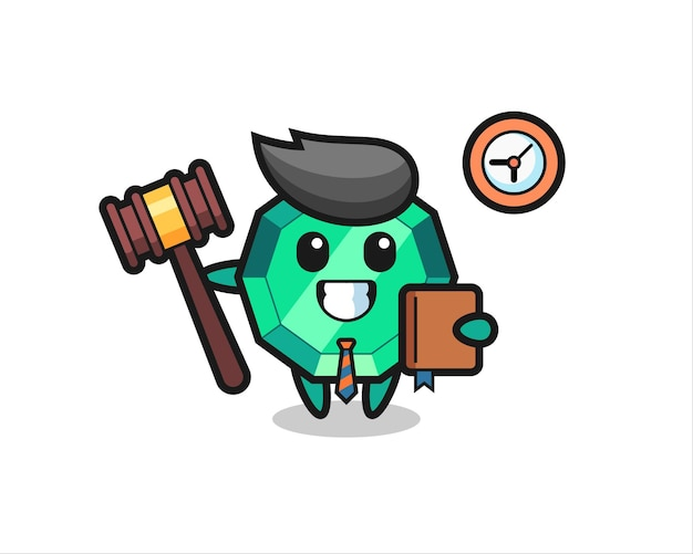 Mascot cartoon of emerald gemstone as a judge , cute style design for t shirt, sticker, logo element