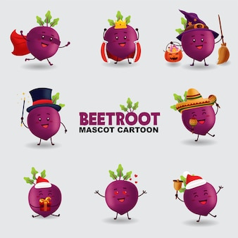Mascot cartoon illustration. beetroot in several pose. isolated background.