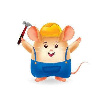 Mascot cartoon illustration. cute mouse carpenter. isolated background.