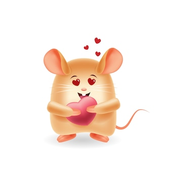 Mascot cartoon illustration. cute mouse fall in love. isolated background.