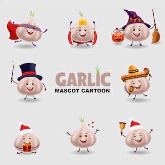 Mascot cartoon illustration. garlic in several pose. isolated background.