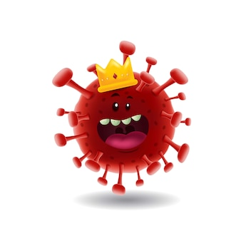 Mascot cartoon   illustration_king of red covid-19 corona virus_isolated