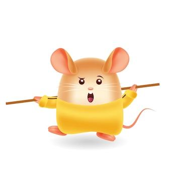 Mascot cartoon illustration. kungfu mouse. isolated background.