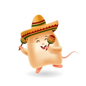 Mascot cartoon illustration. mouse dancing and holding maracas. isolated background.