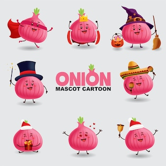Mascot cartoon illustration. onion in several pose. isolated background.