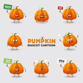 Mascot cartoon illustration. pumpkin in several pose. isolated background.