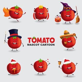 マスコット漫画イラスト。いくつかのポーズのトマト。孤立した背景。
