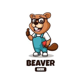 Mascot cartoon logo design for geek beaver