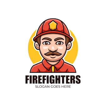 Талисман мультяшный логотип для пожарных