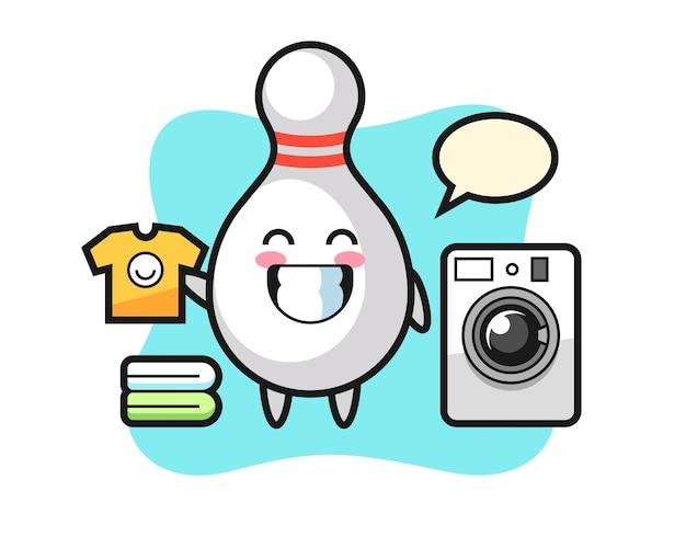 세탁기가 있는 볼링 핀의 마스코트 만화, 티셔츠, 스티커, 로고 요소를 위한 귀여운 스타일 디자인