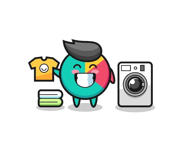 세탁기가 있는 차트의 마스코트 만화, 티셔츠, 스티커, 로고 요소를 위한 귀여운 스타일 디자인