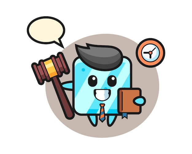 Талисман мультфильм кубика льда в качестве судьи