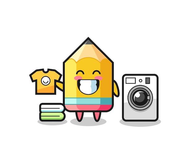 세탁기가 있는 연필 마스코트 만화, 티셔츠, 스티커, 로고 요소를 위한 귀여운 스타일 디자인