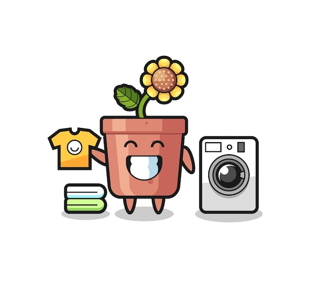 세탁기가 있는 해바라기 냄비의 마스코트 만화, 티셔츠, 스티커, 로고 요소를 위한 귀여운 스타일 디자인
