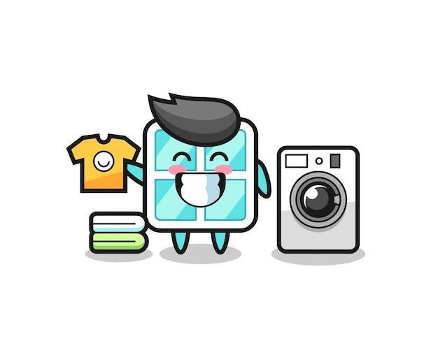 세탁기가 있는 창의 마스코트 만화, 티셔츠, 스티커, 로고 요소를 위한 귀여운 스타일 디자인