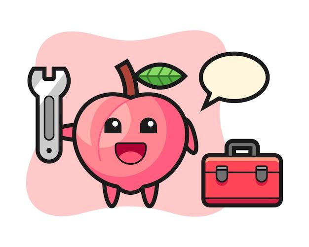 Mascot cartoon of peach as a mechanic, cute style design for t shirt