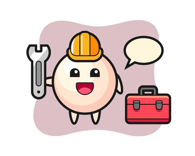 Mascot cartoon of pearl as a mechanic
