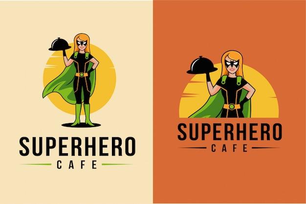 Талисман мультфильм супергероя официантов логотип