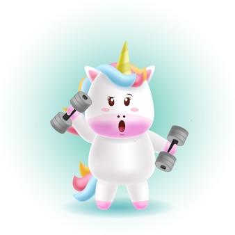 Mascot cartoon vector illustration_cute unicorn fitness