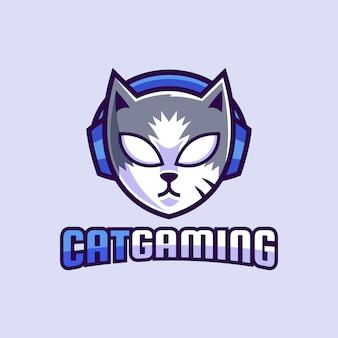 マスコット猫ゲーミング摩耗ヘッドフォンのロゴデザイン