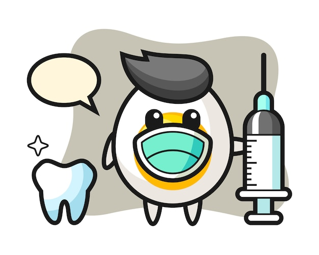 Mascot character of boiled egg as a dentist