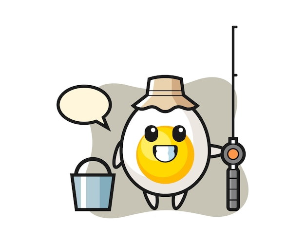 Mascot character of boiled egg as a fisherman
