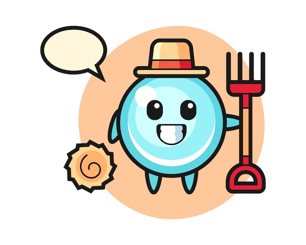 Mascot character of bubble as a farmer, cute style design