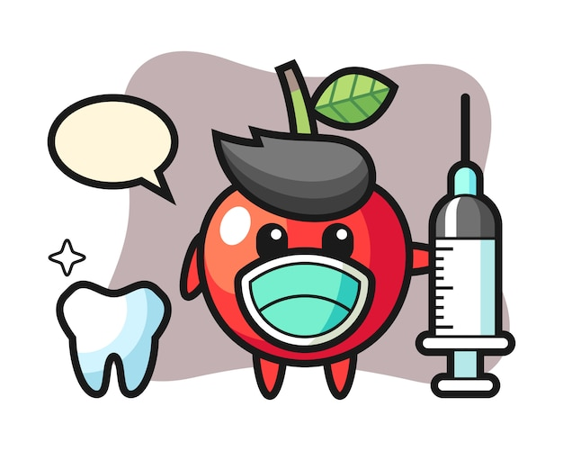Mascot character of cherry as a dentist, cute style design