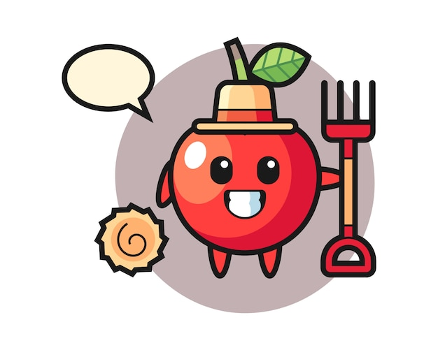 Mascot character of cherry as a farmer, cute style design