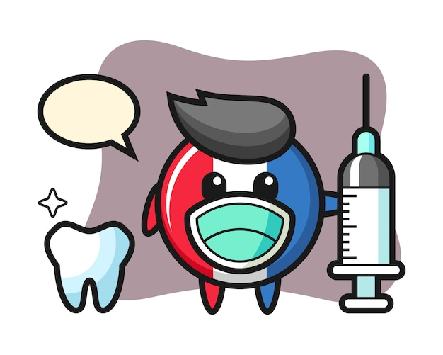 Mascot character of france flag badge as a dentist
