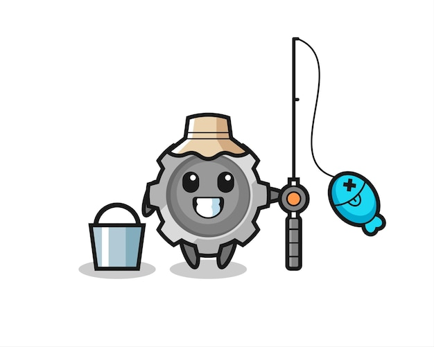 Mascot character of gear as a fisherman , cute style design for t shirt, sticker, logo element