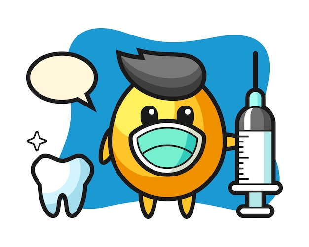 Mascot character of golden egg as a dentist, cute style design