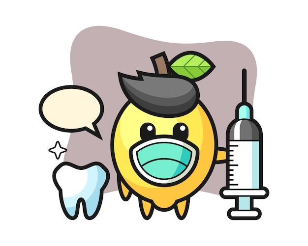 Mascot character of lemon as a dentist