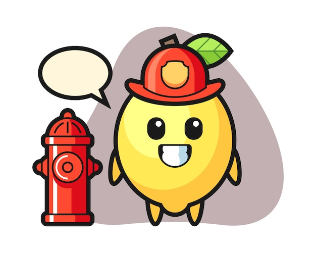 Mascot character of lemon as a firefighter