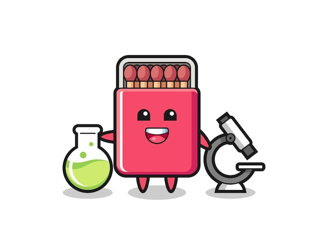 Mascot character of matches box as a scientist , cute design