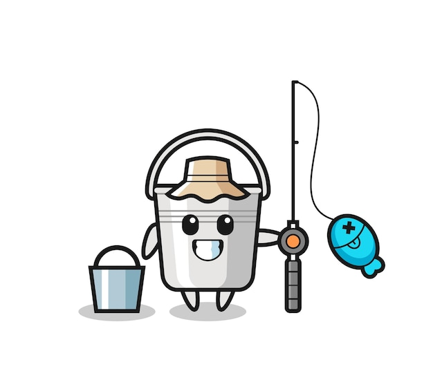 Mascot character of metal bucket as a fisherman , cute style design for t shirt, sticker, logo element